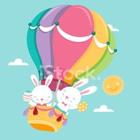 Easter Bunny,Hot Air Balloo...