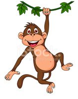 how to draw a monkey hanging on a tree