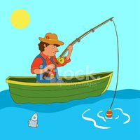 Illustration with fisherman and fish