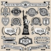 Made in USA Black & White Banners, Badges, and Symbols