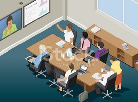 Video Conference,Isometric,...