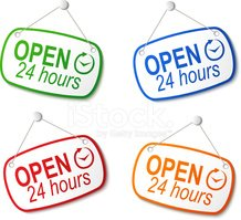 open 24 hours signs