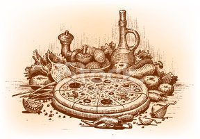 Pizza,Ilustration,Pencil Dr...