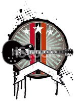 grunge music shield with guitar and banner