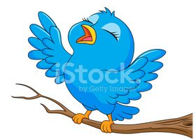 Blue bird cartoon singing