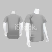 Gray T-Shirt Template - Vector Illustration