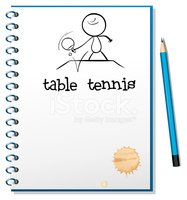 Notebook with a sketch of table tennis player