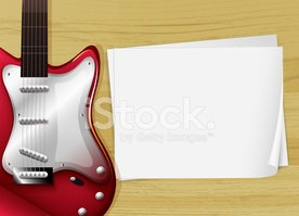 Red,Guitar,Paper,Image,Back...