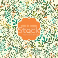 Textured Plants Frame Seamless Pattern Background