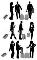 Business people with trolley bag