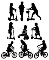 Silhouette,Child,Tricycle,C...