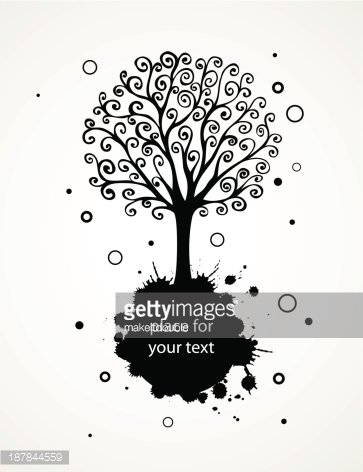abstract background with hand drawn swirl tree