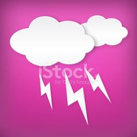 Paper white lightning clouds width on pink