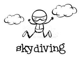 Skydiving,Sketch,Child,Para...