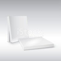 Box for pizza on white background. Ready for your design.