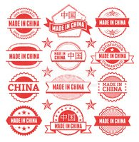 Made in the China Grunge Badge Set
