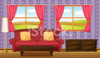 Red Sofa And Side Table Stock Vectors Clipart Me