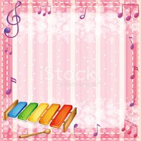 Colorful xylophone with musical notes