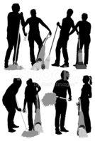 Silhouette,Cleaning,Broom,M...
