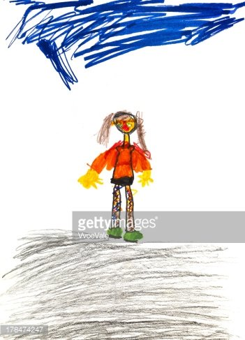 Art,Orange Color,Child,Pict...