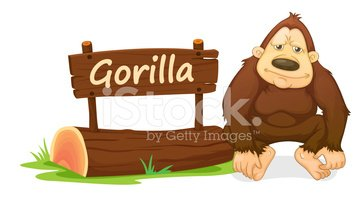 Gorilla and name plate