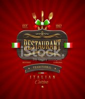 Decorative vintage wooden sign for Italian restaurant with golde
