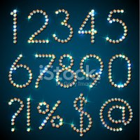 Diamond symbols and digits with sparkles