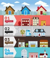City banenr retro illustration with colorful icons