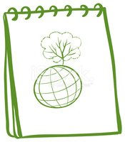 Green notebook with a globe at the front page