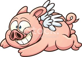 Pig,Flying,Pink Color,Smili...