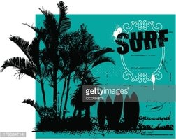 surf grunge scene with shield palms and space to copy