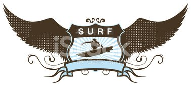 surf grunge shield with surfer and wings