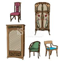 Art Nouveau colored furniture