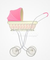 Vector illustration of baby carriage