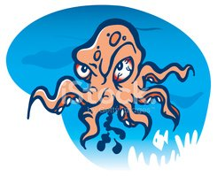 Octopus,Cartoon,Displeased,...
