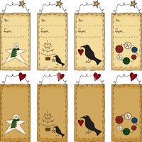 Primitive Folk Art Gift Tag Set (with JPG)
