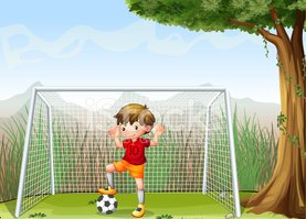 Grass,Male,Child,Playing,Kick…
