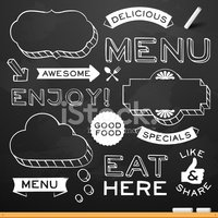 Menu,Blackboard,Chalk Drawi...