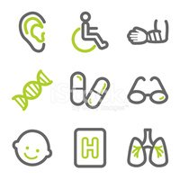 Medicine web icons set 2, green and gray contour series
