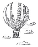 Hot Air Balloon,Black And W...