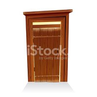 Wooden Toilet House. Countryside Lavatory Vector Illustration