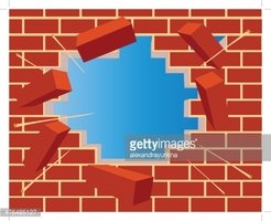 Broken Brick Wall With Hole And Sky