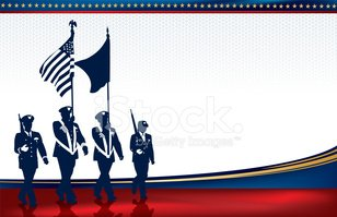 Military Parade Soldiers with American Flag Background