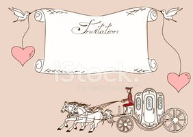Vintage invitation with horse carriage
