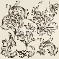 Collection of vector vintage swirl ornaments for design