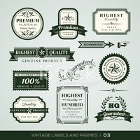 Vintage Premium Quality and Guarantee Labels