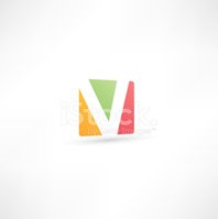 Letter V,Abstract,Multi Col...