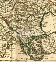 Balkans Antique Map Close-Up