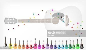 Set of Colorful Acoustic Guitars Background