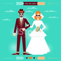 Wedding,Hipster,Couple,Brid...